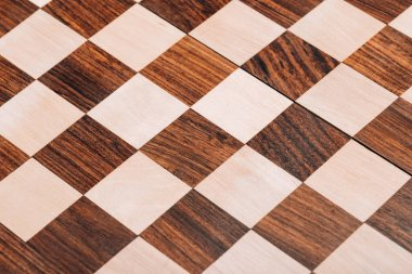Surface of folding wooden checkerboard with brown and white squares stock vector