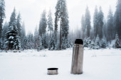 vacuum flask on snow in mountains with pine trees