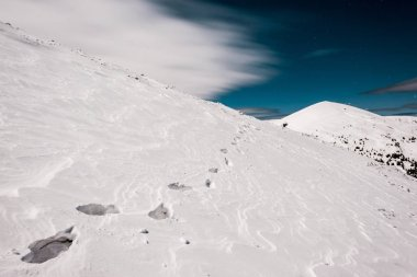 scenic view of traces on white pure snow in mountain