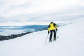 pohled zezadu na sportovce držícího lyžařské hole a lyžování na bílém svahu