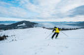 zpět pohled na lyžaře v helmě lyžování v zimě