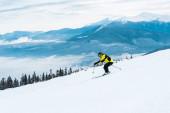 Sportler mit Stöcken und Skifahren auf schneebedeckter Piste in den Bergen