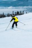 Rückansicht des Skifahrers im Helm beim Skifahren am Hang in der Nähe der Berge
