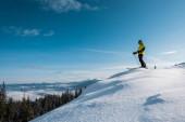 Fotografie lyžař drží lyžařské hole a stojí proti modré obloze v horách