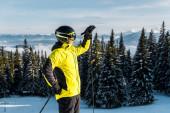 Sonnenschein in der Nähe eines gut aussehenden Skifahrers mit Helm, der neben Kiefern in den Bergen steht