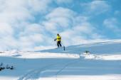 bílý sníh u sportovního lyžování v zimě