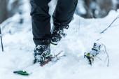 Fotografie oříznutý pohled na lyžaře při chůzi na sněhu u lyží v zimě