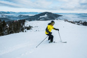 sportovec drží lyžařské hole při lyžování v zimě