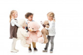 Fotografie adorable multicultural children holding teddy bears, isolated on white