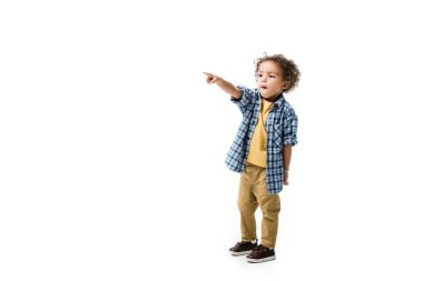 Surprised african american boy pointing isolated on white stock vector