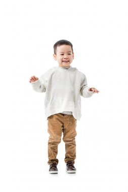 Happy little asian boy isolated on white stock vector