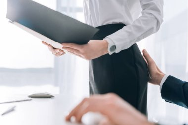 cropped view of businessman touching butt of secretary in office
