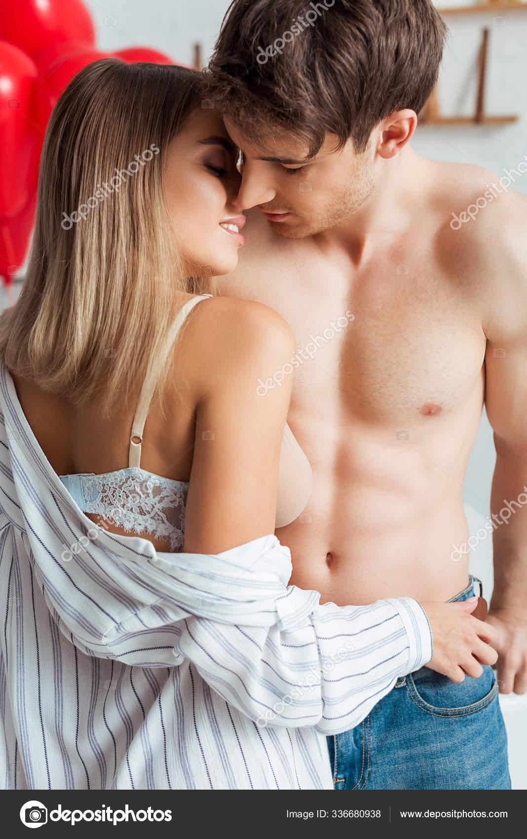 Breast touching pics Happy Woman Big Breast Touching Muscular Boyfriend Stock Photo By C Haydmitriy 336680938