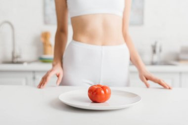 Selective focus of ripe tomato on plate and slim sportswoman near kitchen table stock vector