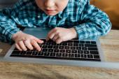 vágott kilátás aranyos fiú gépelés laptop billentyűzeten