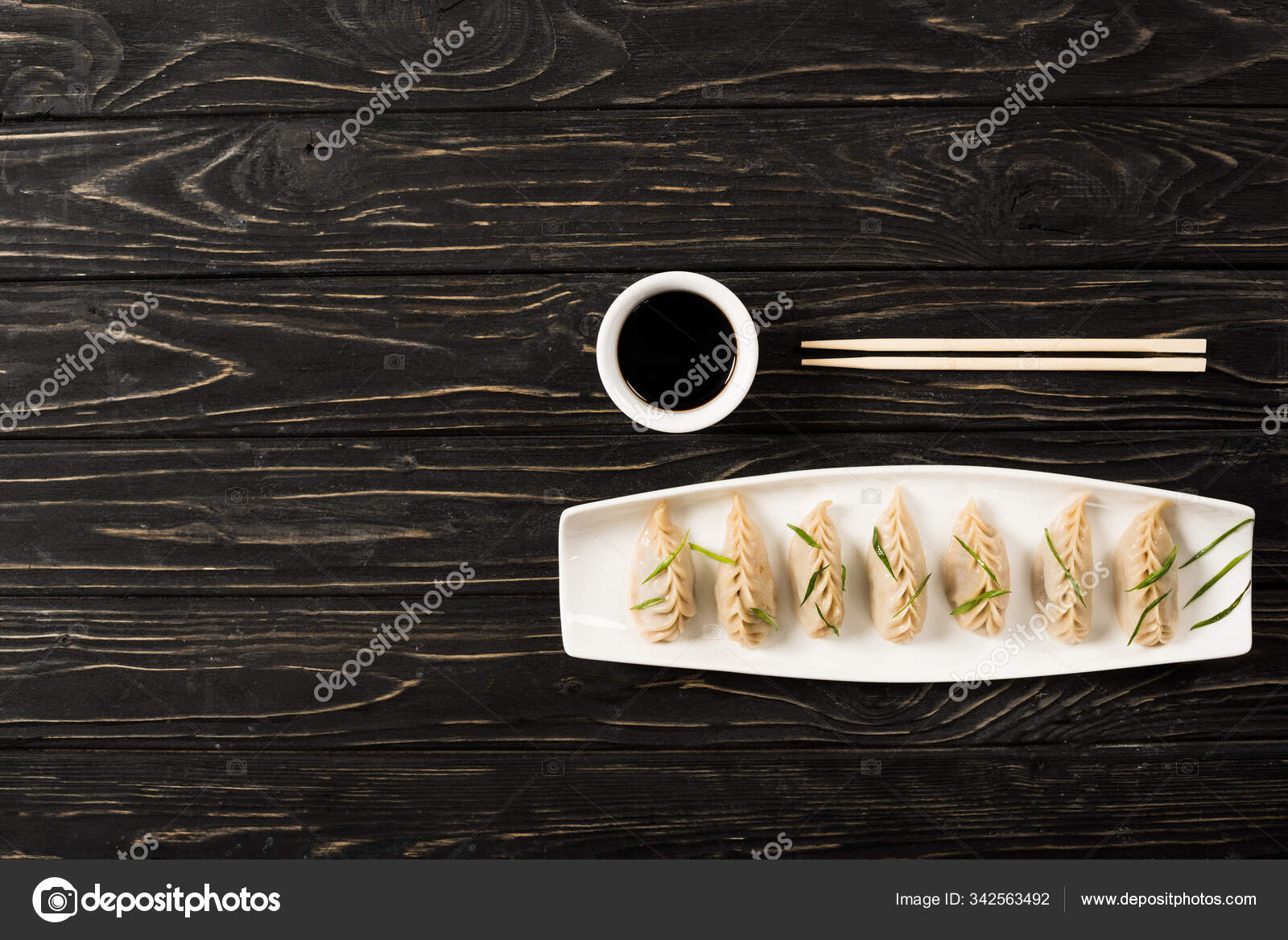 Top View Delicious Chinese Boiled Dumplings Plate ...