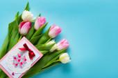 Horní pohled na blahopřání na tulipánech na modrém povrchu
