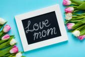 Horní pohled na tabuli s láskou maminka písmo a tulipány na modrém povrchu