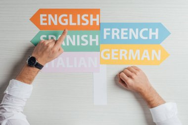 cropped view of translator pointing at arrows with languages