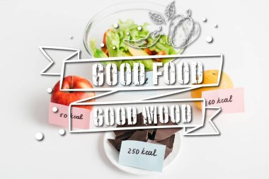 Fresh fruits, chocolate and salad with calories on cards on white background, good food good mood illustration