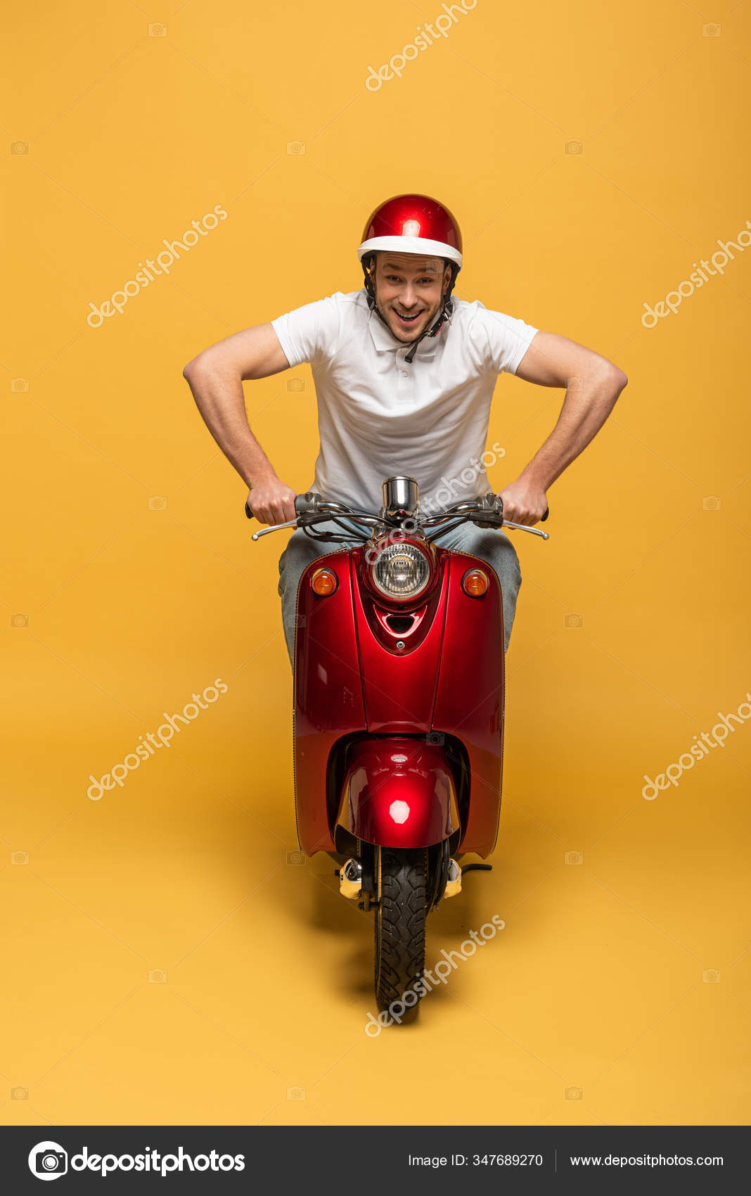 Happy Delivery Man Helmet Riding Scooter Yellow Background Stock Photo Image By C Haydmitriy 347689270