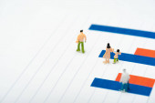 Fotografie Selective focus of plastic people figures on red and blue charts isolated on white, concept of equality