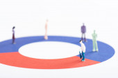 Close up view of people figures on red and blue diagram isolated on white, concept of disparity
