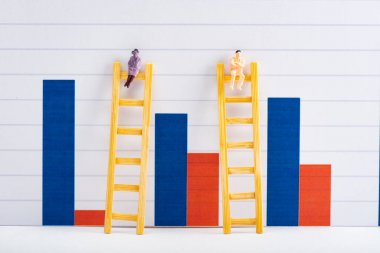 People figures on ladders on white surface near blue and red graphs at background, equality concept stock vector