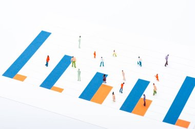 High angle view of graphs and people figures isolated on white, concept of equality stock vector