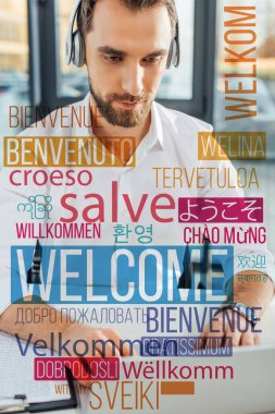 professional translator working online with headphones and laptop in office, welcome translation illustration