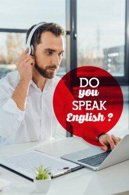 professional translator working online with headphones and laptop, do you speak English illustration