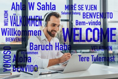 positive translator working online with headphones and laptop in office, welcome translation illustration