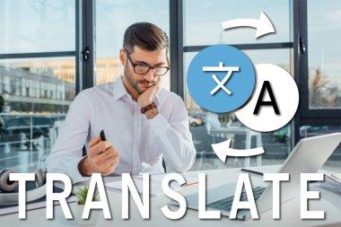 professional translator in eyeglasses working online with laptop, translate illustration