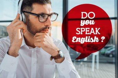 male translator in eyeglasses working online with headphones, do you speak English illustration