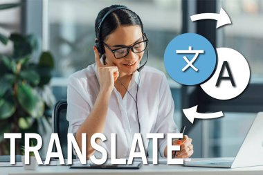 smiling asian translator working online with headset and laptop in office, translate illustration
