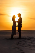 Photo side view of silhouettes of man and woman holding hands on beach against sun during sunset