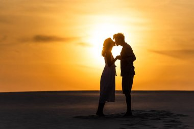 Side view of silhouettes of man and woman kissing on beach against sun during sunset stock vector