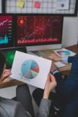 Vágott nézet az informatikai biztonsági elemző gazdaság papír chart közeli kolléga számítógép az asztalnál