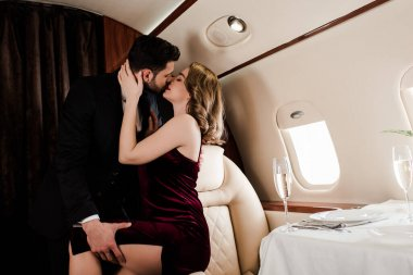 Handsome man touching leg and kissing seductive woman in plane stock vector