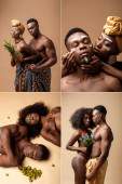 collage of sexy naked tribal afro couple on beige