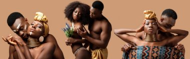 Collage of sexy naked tribal afro couple posing isolated on beige stock vector