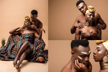Collage of naked tribal afro couple posing on beige background stock vector
