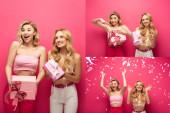 Collage glücklicher blonder Mädchen mit Geschenken und fallendem Konfetti auf rosa Hintergrund