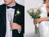 Collage von Bräutigam mit Champagnerglas und afrikanisch-amerikanischer Braut mit Brautstrauß auf weißem Hintergrund, ausgeschnittene Ansicht