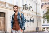 fiatal férfi kezek zsebében és illusztrált arc utazás közelében az álom illusztráció a városban