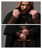 Collage eines mittelalterlichen schottischen Rotschopfritters im Mantel mit Schwert auf grauem Hintergrund