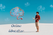 young man on sandy beach with laptop against clear blue sky, online education illustration