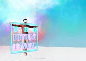 férfi homokos tengerparton vr headset ugrás ellen tiszta kék ég, a jövő most illusztráció