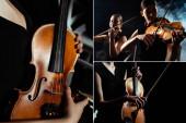 Collage mit professionellen Musikern, die auf Geigen auf dunkler Bühne mit Rauch spielen