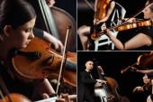 koláž s trojicí profesionálních hudebníků hrajících na housle a kontrabas na tmavém jevišti